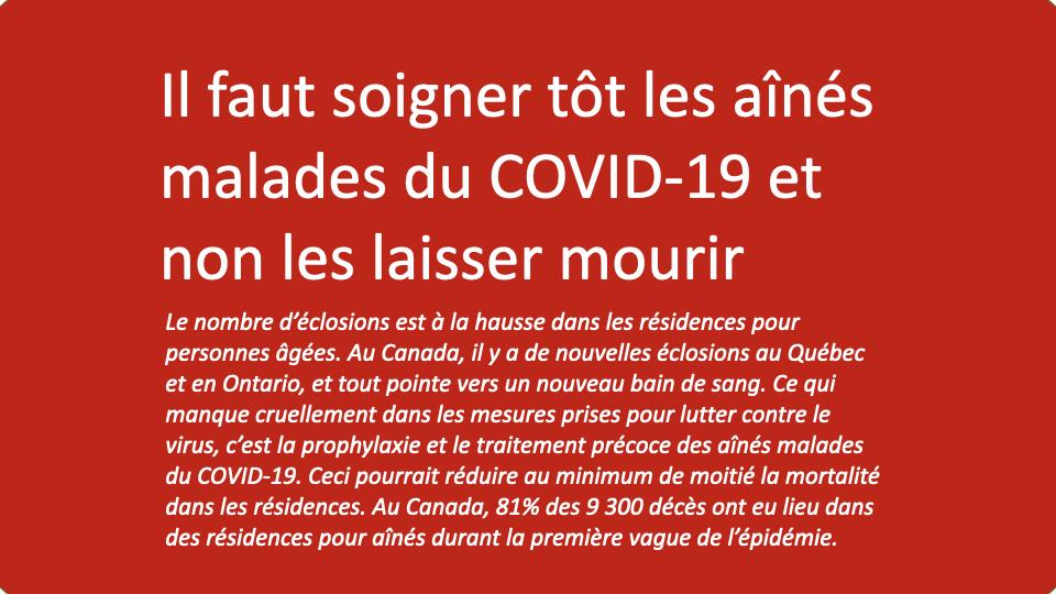 Il faut soigner tôt les aînés malades du COVID-19 et non les laisser mourir