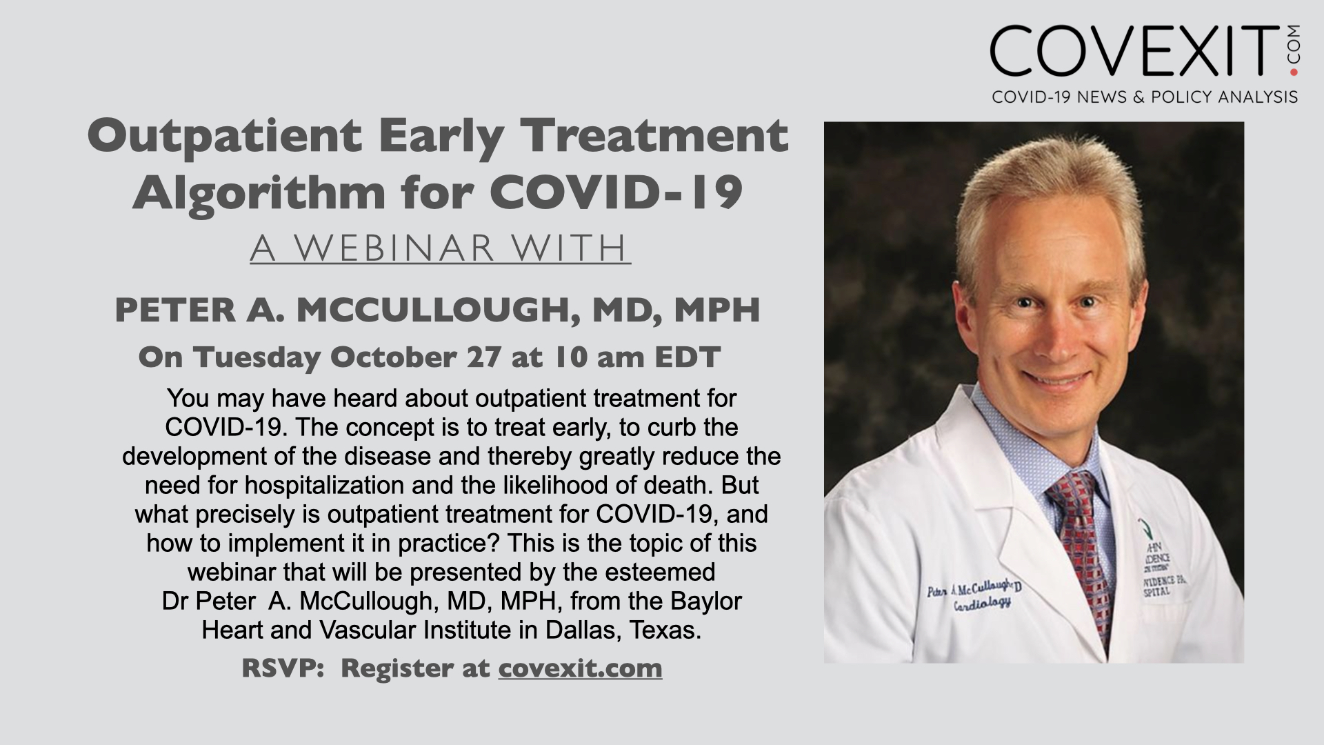 Outpatient Early Treatment Algorithm for COVID-19 - a Webinar with Dr Peter A. McCullough