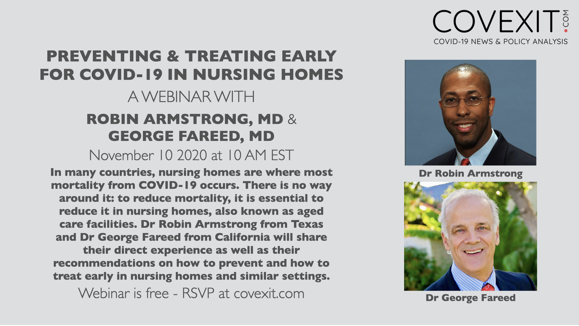 Preventing & Treating Early for COVID-19 in Nursing Homes - a Webinar with Dr Armstrong & Dr Fareed