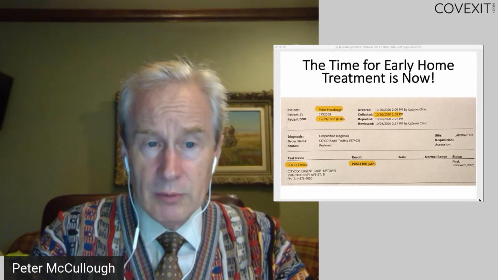 Algorithme de traitement précoce ambulatoire pour le COVID-19 - un Webinaire avec le Dr Peter A. McCullough