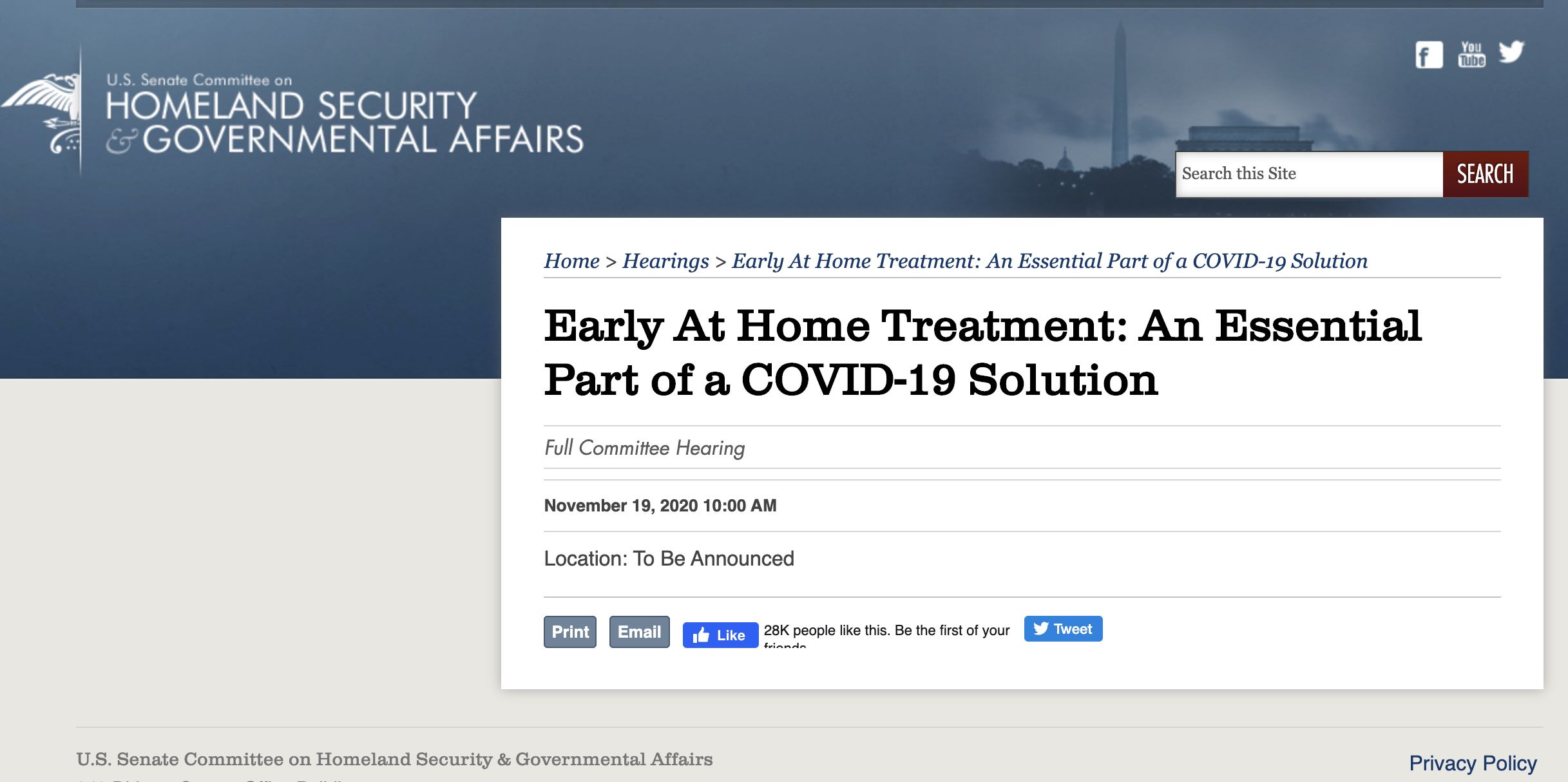 US Senate Committee Hearing Scheduled about COVID-19 Home Treatment