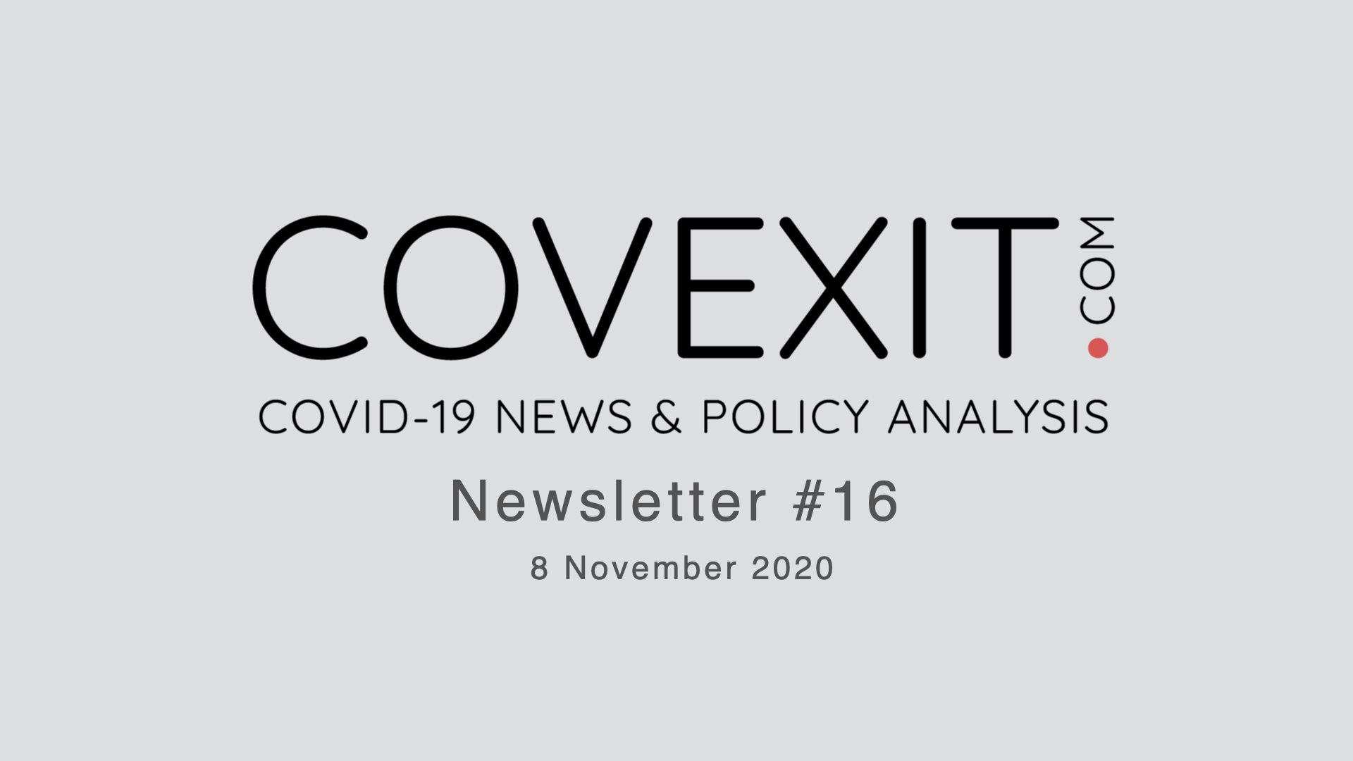 COVEXIT.com Newsletter #16
