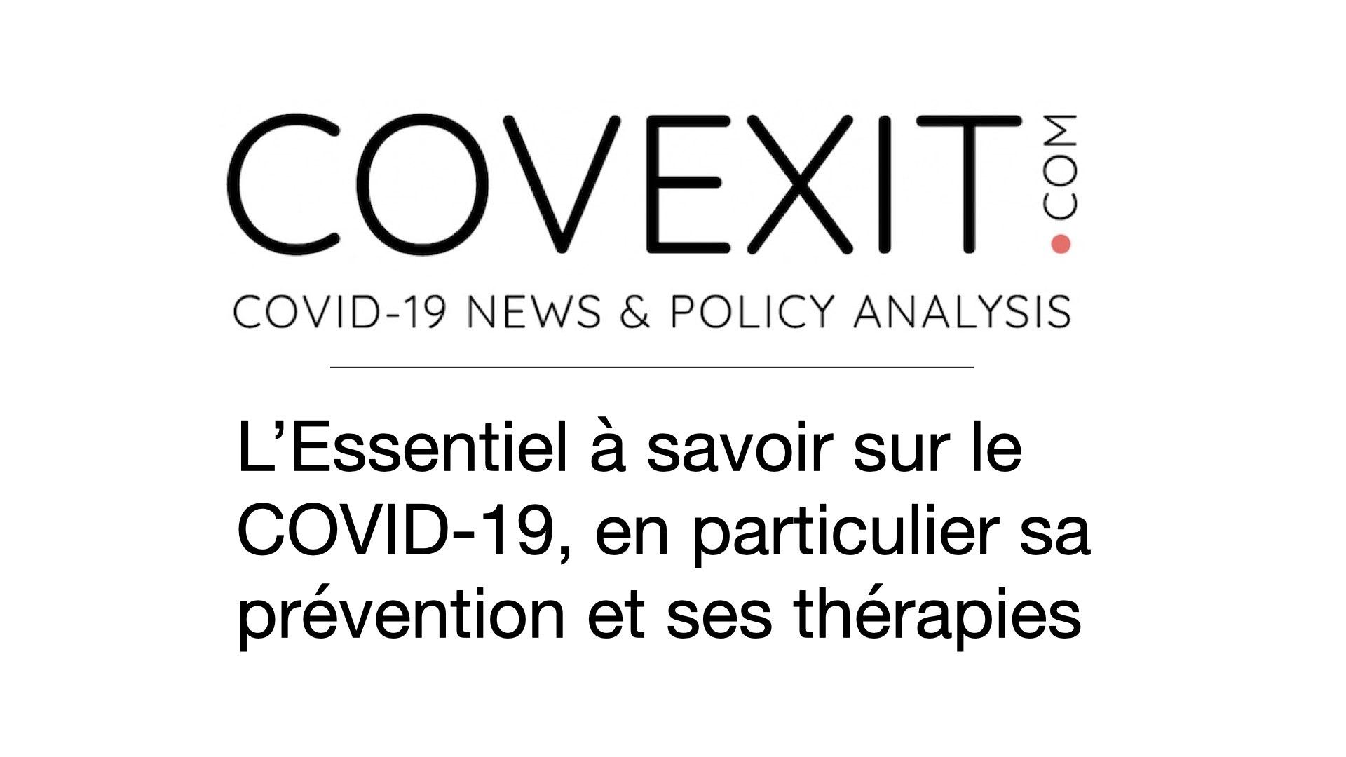 L'Essentiel à savoir sur le COVID-19, en particulier sa prévention et ses thérapies