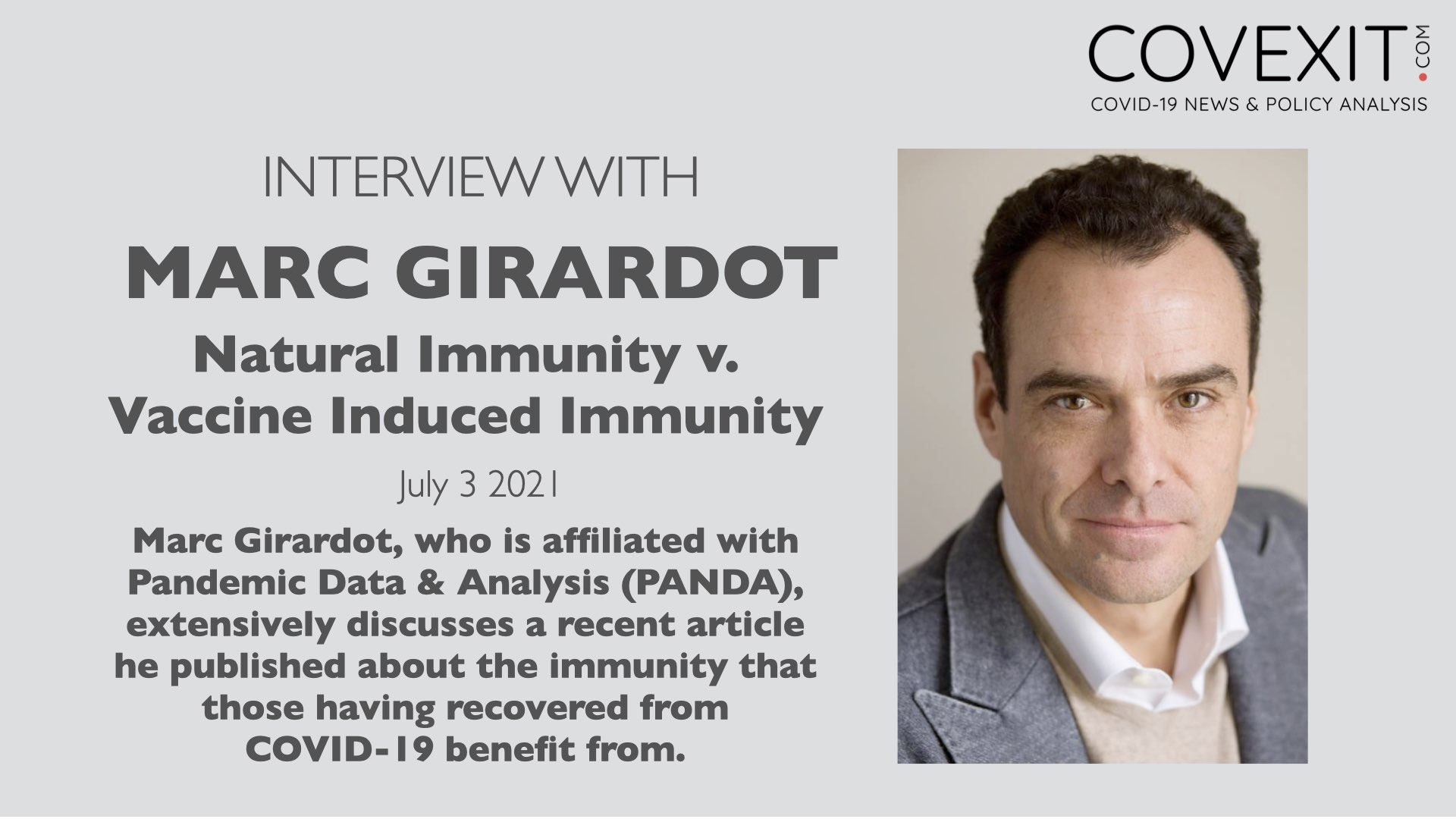 Interview with Marc Girardot: Natural Immunity